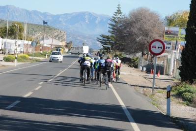 Typical Sunday drive, cyclists by the dozen and reversing motorhomes! A very common sight in Spain :)